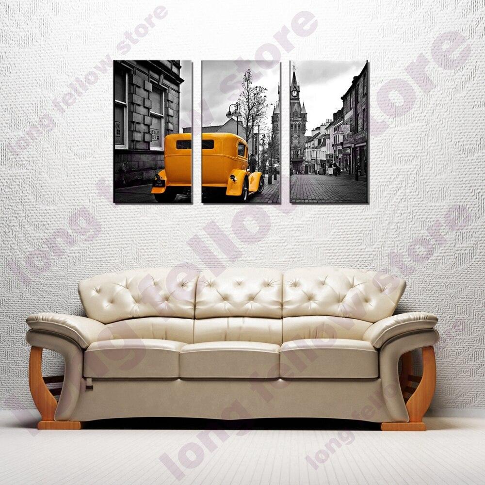 Preto e Branco Da Lona Cartaz Quadro 3 peças Cinza Da Cidade Do Vintage Carro Amarelo Paisagem Retrato Da Arte Da Parede para Corredor Casa decoração da parede
