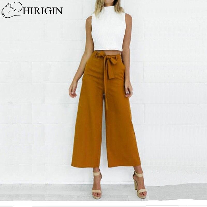 HIRIGIN, Pantalones anchos de gasa para mujer, pantalones de cintura alta con lazo, pantalones Palazzo OL, Falda pantalón larga, pantalones largos