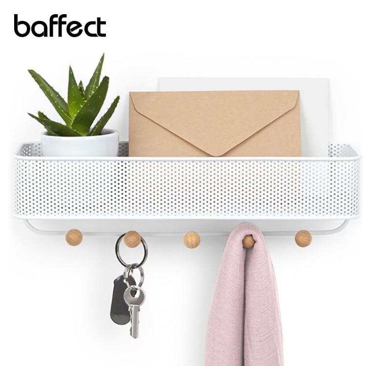 Baffect رف جدار معدني مع هوك ل رسالة جدار مفتاح حامل مفتاح شماعات رف متعددة الوظائف تخزين الرف المنظم للمنزل