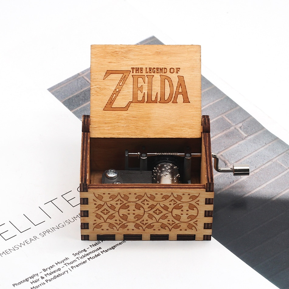 Antique Carved Wood Zelda Music Box Hand Crank Theme Music Birthday gift,Christmas gift, new year gift
