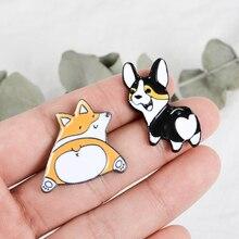 2 couleurs noir Orange Corgi bout à bout épingles Corgi maman badges Denim vestes sacs chapeaux sac à dos accessoires chien amant cadeau