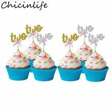 Chicinlife 5Pcs Gold/Silber Bogen Zwei Cupcake Topper Geburtstag Party Baby Shower Boy Mädchen 2nd Geburtstag Kuchen Dekoration liefert