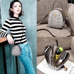 KVNIO Luxury Shoulder Bag Women Canvas Multifunction Mini Handbags Designer Fashion Clutch Bag Vintage Plaid Crossbody Bags 2019