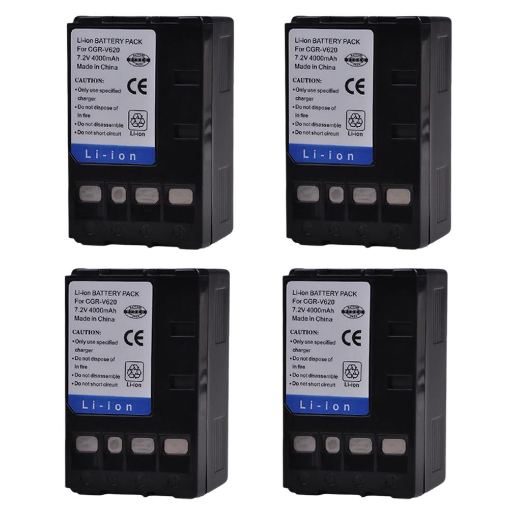 PowerTrust 4x4000 mAh CGR-V620 CGR-V14S CGR-V610 CGR-V26S batería para Panasonic V610 V620 NV-RX14 NV-RX17 NV-RX18 NV-RX24 Cámara