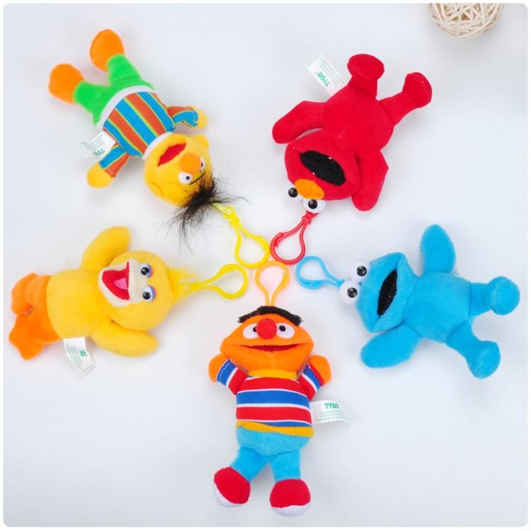 1pcs Sesame Street  plush pendant toy doll mini cute clamshell doll plush keychain 13cm 5kinds wj04
