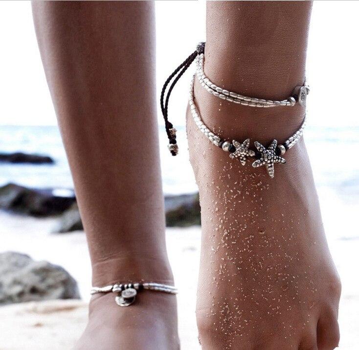 Retro tornozeleira para mulheres meninas tornozelo perna corrente charme starfish grânulos pulseira moda praia jóias vintage pulseira pé jóias