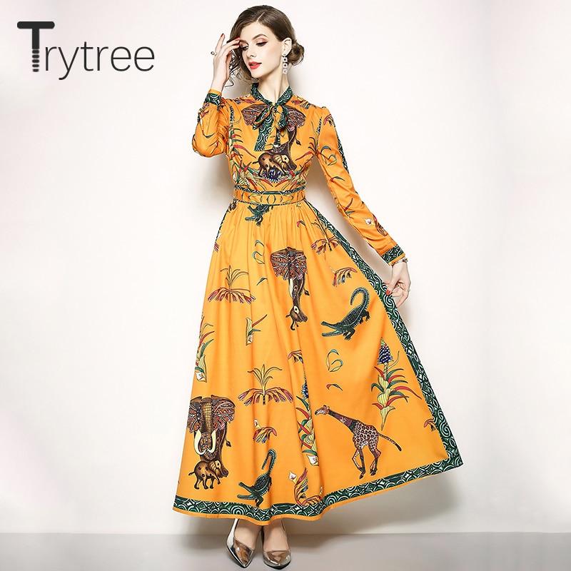 Trytree Summer Autumn Dress Elegant A-line women Bow Neck Animal Printing dresses Ankle-Length Casual Polyester Orange Dress