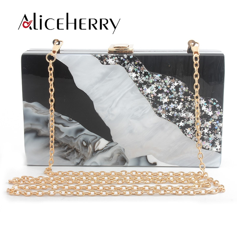 Bolso de mano de acrílico de alta calidad con diseño de piedra, caja negra Vintage, bolsos de noche para fiesta, bandolera, cadena, bolsos de mano, saco a dos