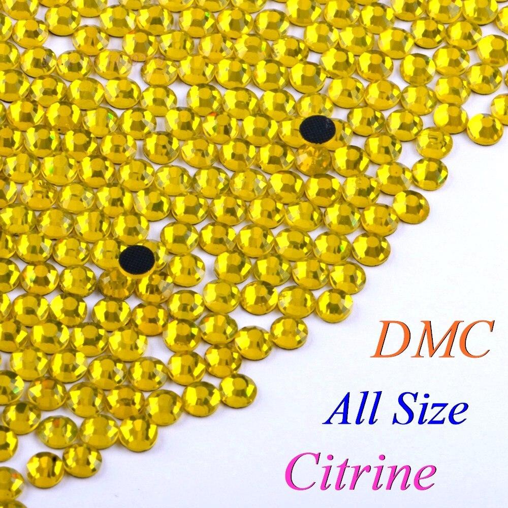 Cor citrina DMC Hotfix Strass SS6 SS10 SS16 SS20 SS30 Cristais Vidro Pedras Hot Fix Iron-On Natator Com cola