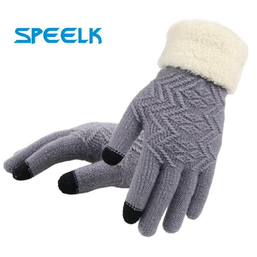 Новые зимние вязаные перчатки для сенсорных экранов женские модные вязаные перчатки Варежки женские толстые плюшевые перчатки для вождени...