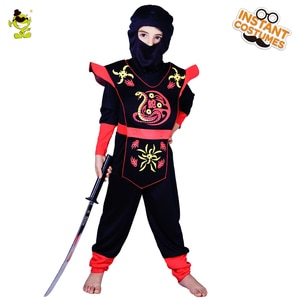 Halloween Kid's Black Hooded Ninja Costume with Red Snake Printed Cosplay Fancy Dress Suit for Carnival Party for Unisex Child