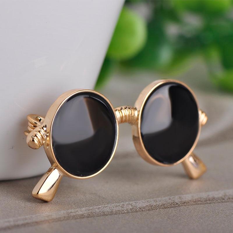 Broche Blucome de moda con forma de anteojos negro para mujer, hombre, niño, ropa diaria, accesorios para traje, bolso, joyería para sombrero, Pins, hebillas para bufanda