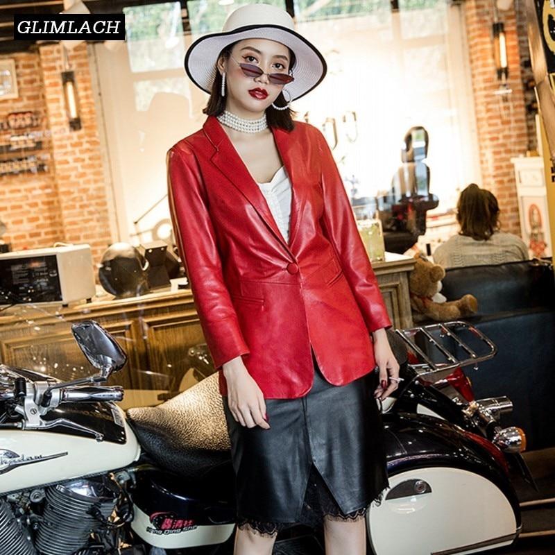 Nuevo diseñador de cuero genuino rojo trajes chaqueta mujeres cuero de oveja Real elegante Slim Casual Oficina dama chaqueta abrigos Otoño de 2019