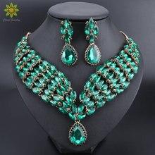 Nouveau cristal vert déclaration collier boucles doreilles ensemble or couleur bijoux ensembles indien mariée mariage bijoux fantaisie