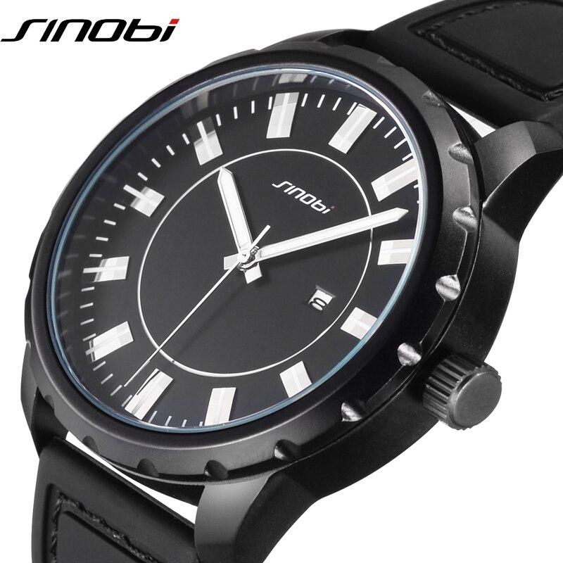 Relojes deportivos SINOBI Cool para Hombre, Relojes de cuarzo con correa de silicona negra de lujo, Relojes impermeables para Hombre 2019, reloj masculino #9603