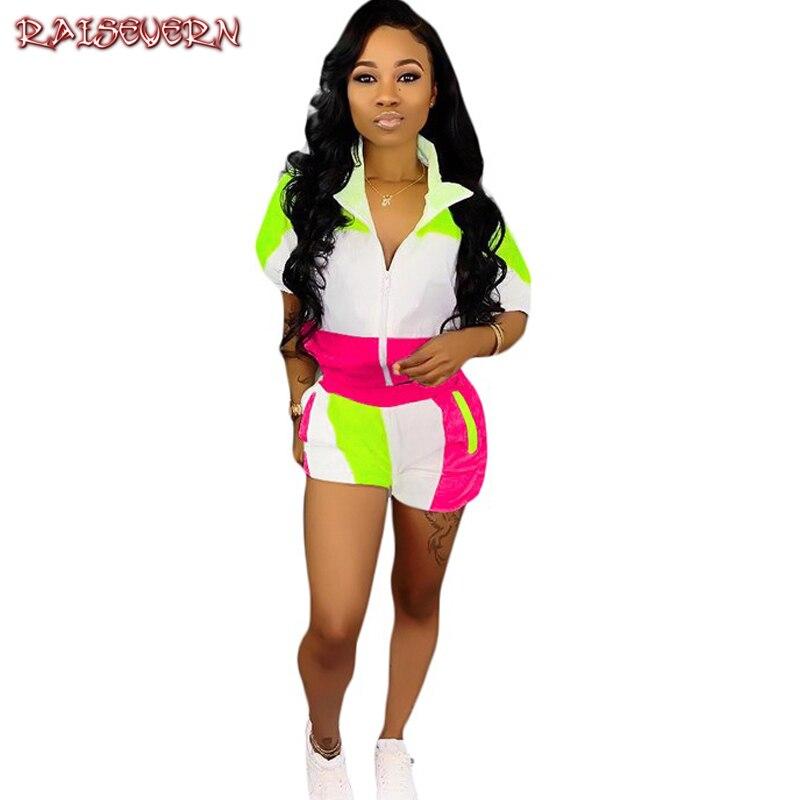 RAISEVERN Hot Fashionable Popular 2019 Women 2 Piece Set Short Sleeve Loose Tees Skinny Shorts Pathwork Women Bodycon Set