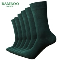 Match-Up  Men Bamboo Green Socks Breathable Anti-Bacterial man Business Dress Socks (6 Pairs/Lot)