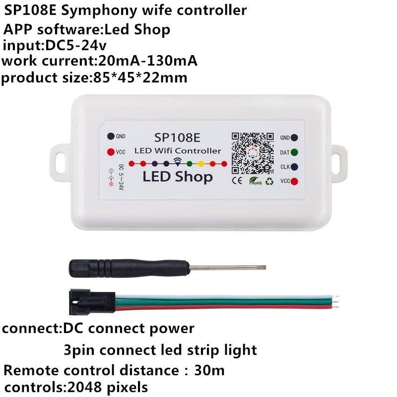Sp108e sem fio bluetooth controlador app ws2811 ws2812b ws2801 sk6812 apa102 individualmente endereçável corda led programável