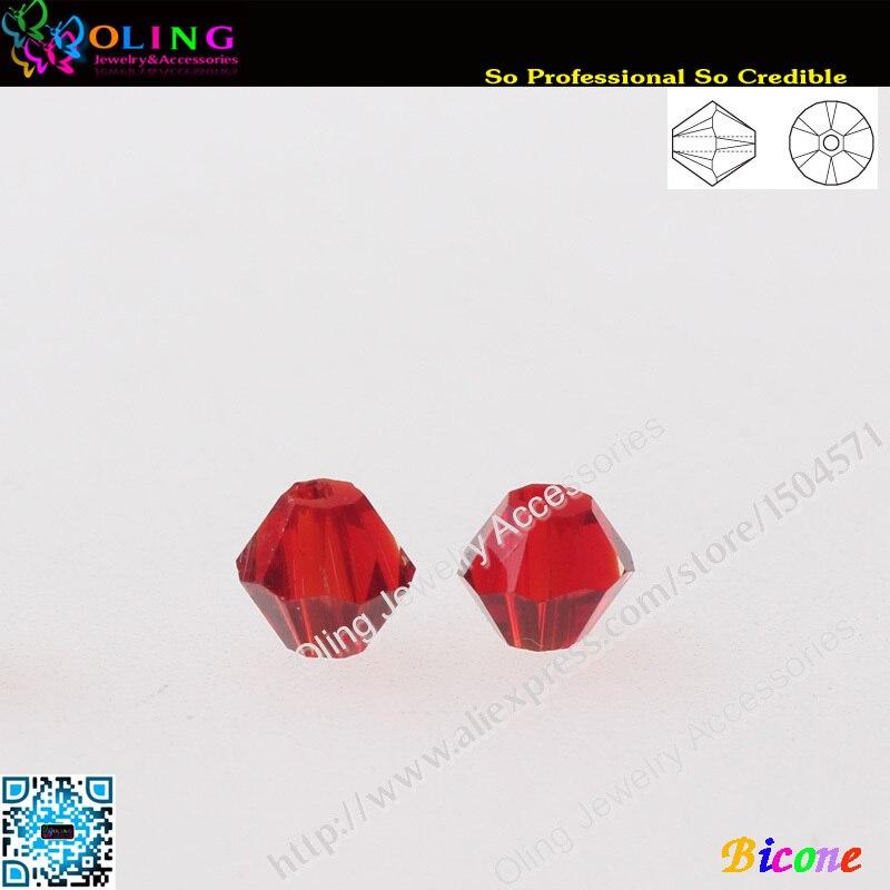 Cuentas 720 unids/lote AAA de alta calidad 5301 cuentas de bicono 3mm cuentas de cristal Siam cuentas espaciadoras sueltas DIY fabricación de joyas
