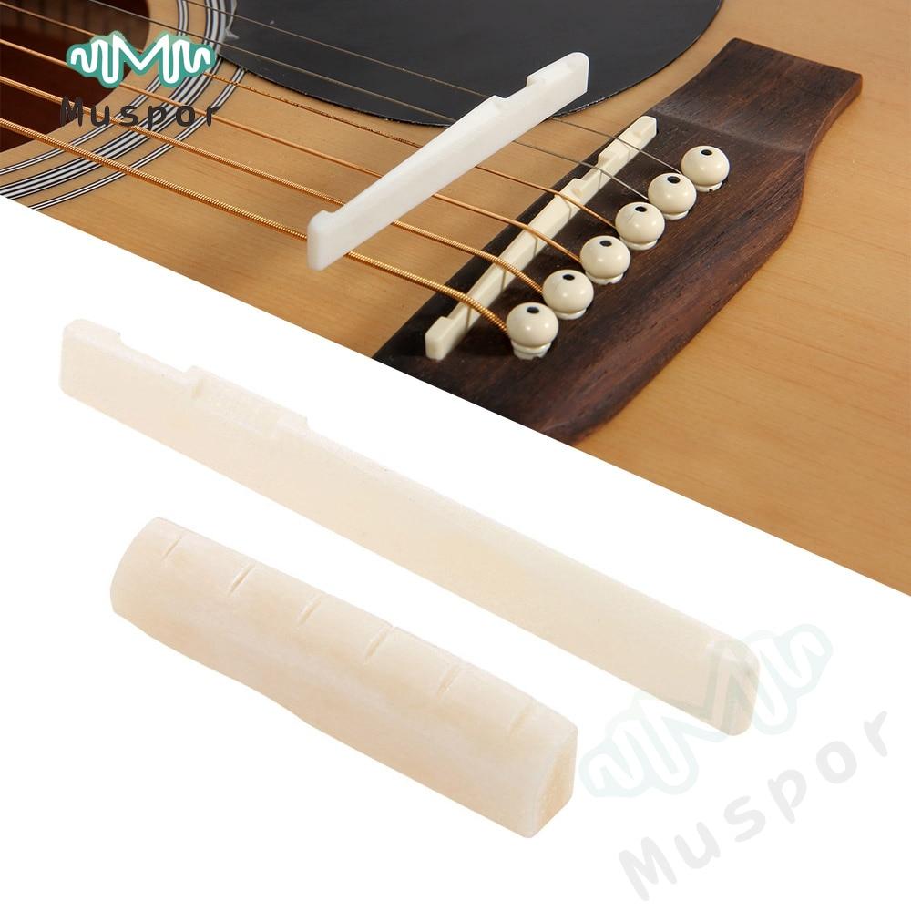 Montura y tuerca de puente de hueso de búfalo duradera de marfil para guitarra acústica de 6 cuerdas