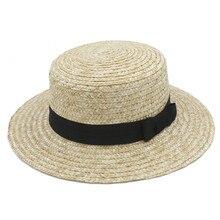 Moda mujer verano Boater paja Toquilla sombrero para el sol elegante señora de ala ancha Fedora plana Panamá Top Sunbonnet sombrero con bowknot