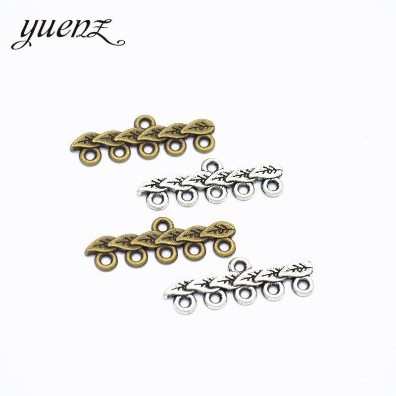 Yuenz 20 pces pingentes antigos da folha da árvore dos encantos para a jóia que faz o ofício feito à mão 28*9mm g109