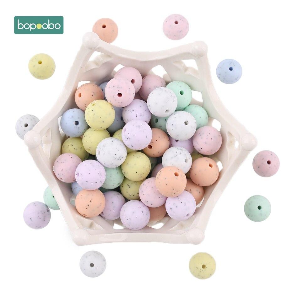 Bopoobo, 10 Uds., mordedor para bebé, materiales de calidad alimentaria, cuentas de sésamo, cuentas de granito de silicona, regalo para Baby Shower, accesorios para lactancia, 15mm