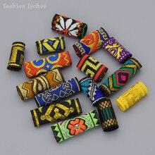Mode litchi 15 pièces mélange tissu redoute Dreadlock perles Clips manchette pour cheveux tresse perles Tube Style aléatoire cheveux accessoires