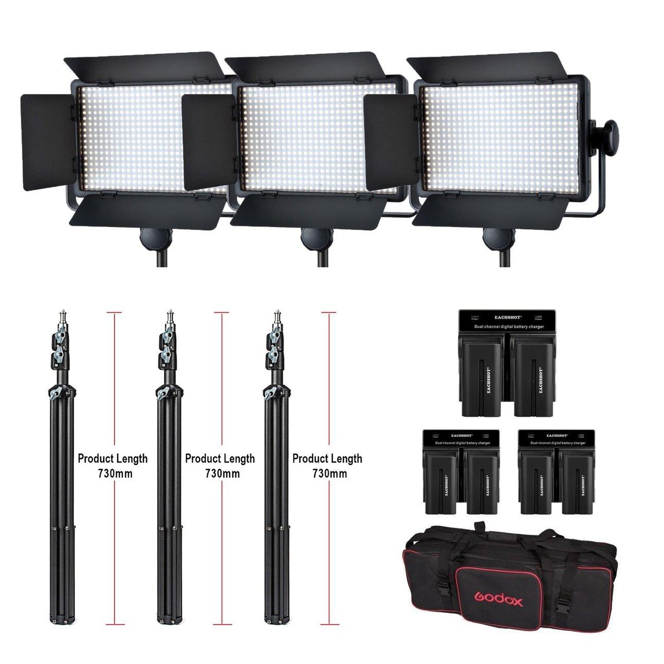 Godox 3x LED500W zestaw 5600K 8700LUX LED Video ciągłe światło panel lampy + stojak + bateria + ładowarka W/torba do przenoszenia