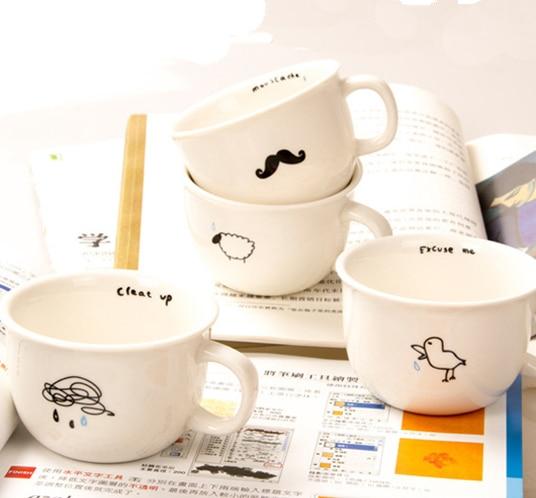 Mustache / Cloud / Bird / Sheep Marks Mug,Cute Minimalist design Mug Designs Ceramic Breakfast Mug Coffee Mugs