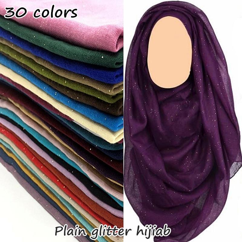 30 colores de brillo maxi hiyab liso bufanda mujeres Shimmer chal musulmán sólido brillante chal largo encharpe suave volie bufanda foulard