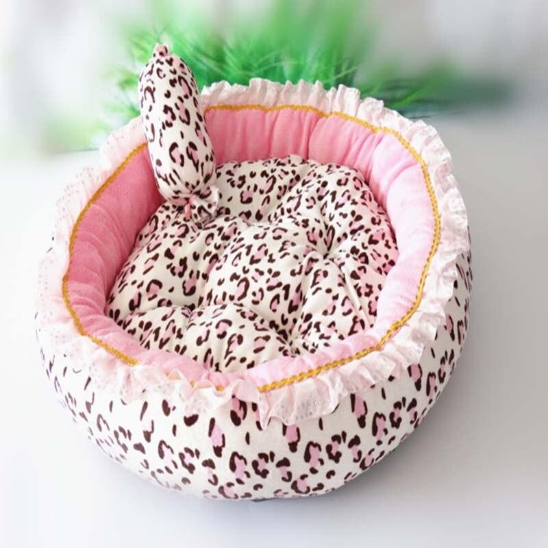 Estilo de Corea Cama de Perro gato Rosa leopardo mascota casa saco de dormir Perro Cama con almohada cachorro cojín sofá de Caseta de perros Cama Perro