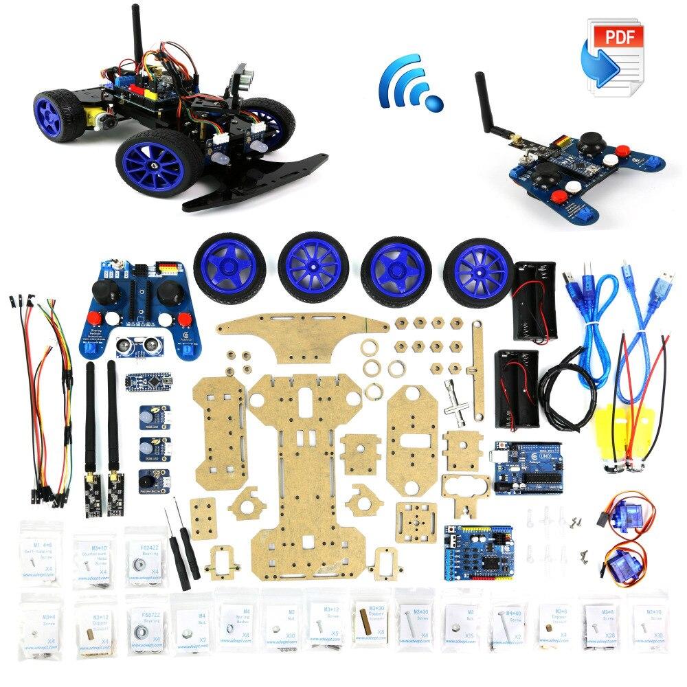 Adeept modelo de robótica arduino kit carro inteligente eletrônica diy brinquedos ultra-sônicos 2.4g freeshipping fones diy diykit