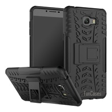 Pour Samsung Galaxy C9 Pro étui 6.0 pouces béquille hybride éblouir robuste armure en caoutchouc dur PC + fonction de support en TPU étui antichoc
