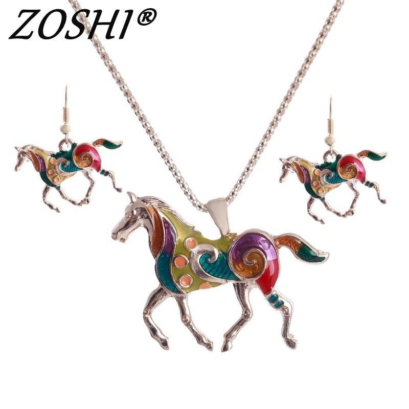 ZOSHI Bunte Emaille Pferd Schmuck Sets Für Mädchen Tier Gold Pferd Anhänger Halskette Ohrring Set Einzigartige Ethnische Schmuck