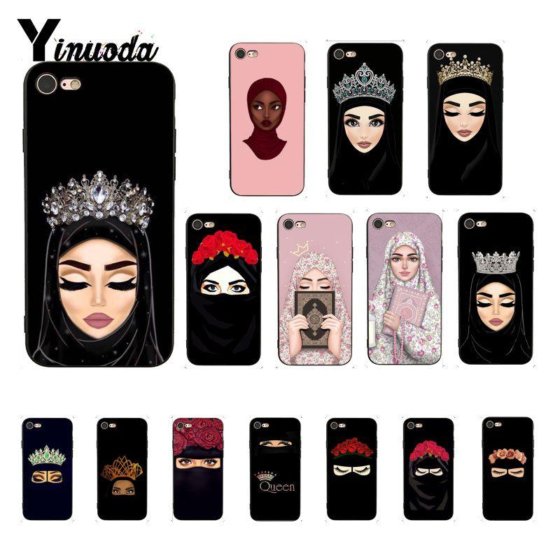 Yinuoda musulmán islámico ojos de chica mujer cara corona flor suave negro Funda de teléfono para iPhone 8 7 6 6S 6Plus X XS MAX 5 5S SE XR