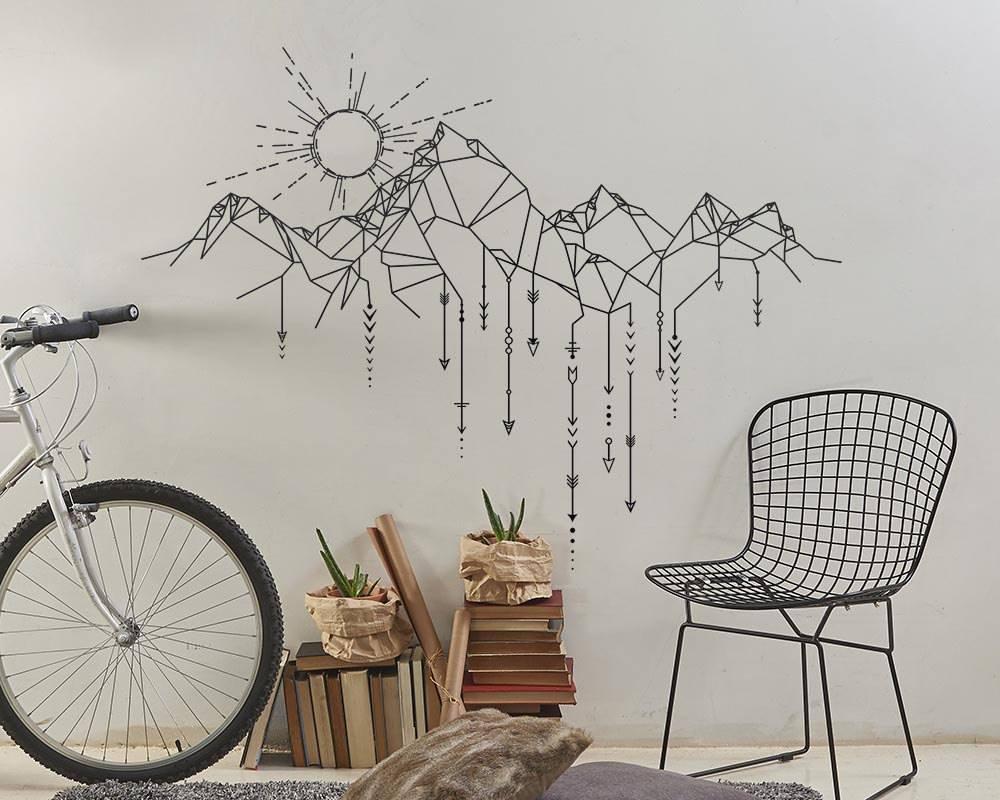 Wall Decal Vinyl Sticker Sun Mountain Arrow Wall Art Design Mural Living Room House Home Decoration Wallpaper DIY Decor