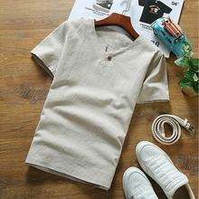 Новые мужские хлопковые льняные рубашки с коротким рукавом, топы, большие размеры, брендовая Повседневная льняная блузка, черные, белые, сер...