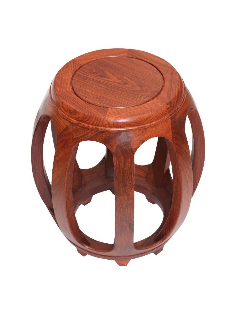 Taburete de tambor de caoba, taburete antiguo chino redondo de madera sólida, tambores de palisandro, pier sentado de madera, mesita para café de sala de estar, taburete