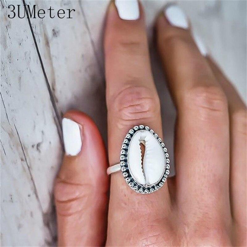 Anel estilo boêmio feminino, 3 umetes novos anel em estilo boêmio com concha, geométrico elegante, anel de liga metálica, presentes de joia