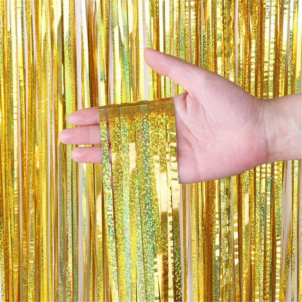2M 3M 4M Gold Metallic Foil Tinsel Fringe Curtain Door Rain Wedding Decoration Birthday Party Backdrop Background Photo Props