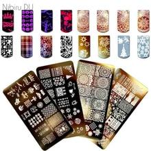 Пластины для стемпинга ногтей для дизайна ногтей, 1 шт., новый год, Рождество, снежный трафарет для Хэллоуина, шаблоны для дизайна ногтей и маникюра