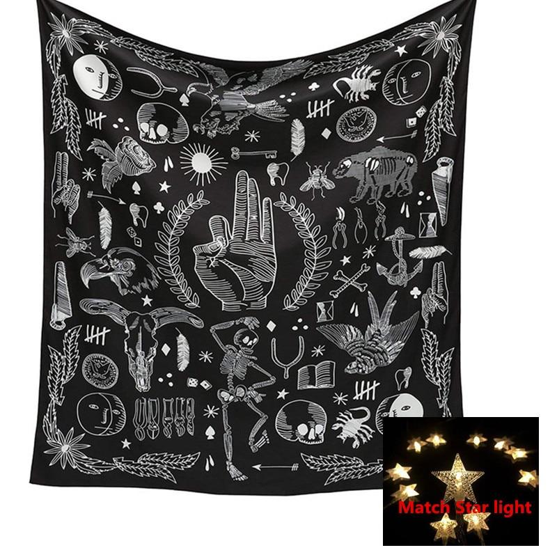 Tarrot Sun Moon estampado pared adhesivo Mandala Home tapices Negro estilo fresco decoración del hogar a juego estrellas luces