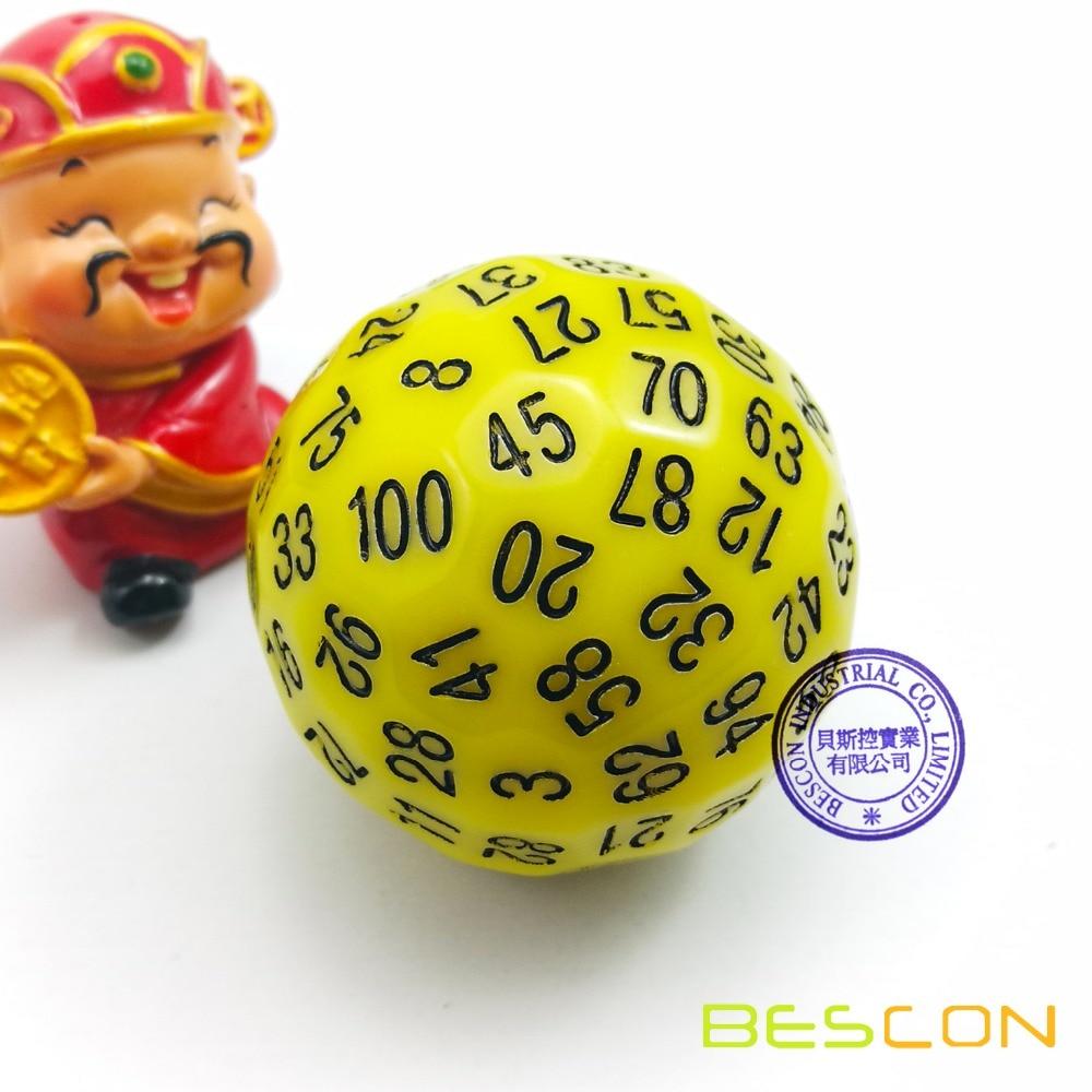 Bescon многогранные кости 100 сторон кости, D100 die, 100 сторонний куб, D100 игральные кости, 100 сторонний кубик желтого цвета