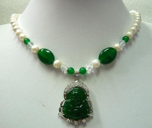 Jades Verdes/collar de perlas Buda/colgante de la suerte de Guanyin