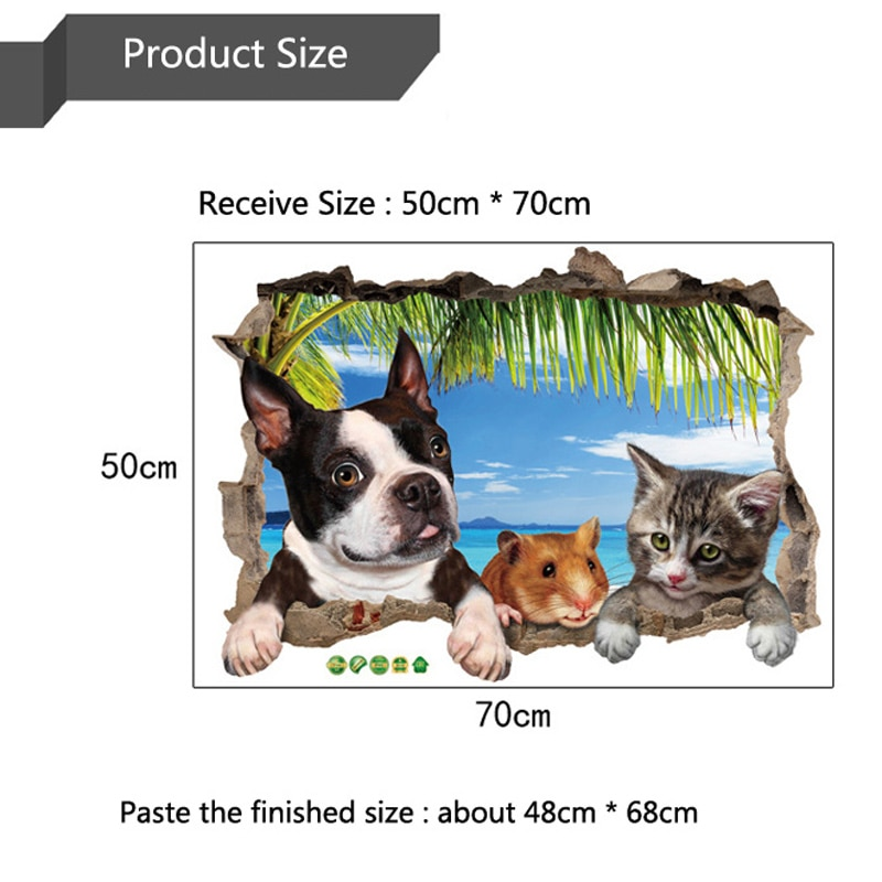 Купить с кэшбэком 3D cat dog hamster Animal scenery wall stickers for kids rooms living room decoration mural home decor stickers decals wallpaper