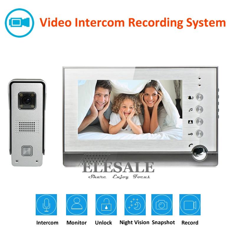 """7"""" Video Intercom Video Door Phone Doorbell System 700TVL Camera Night Vision Recording Photo Taking Support Max 32G"""