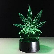 Feuilles LED Animal 3D veilleuse RGB modifiable mauvaises herbes 3D lampe optique visuelle Table lampe chambre fête décoration éclairage