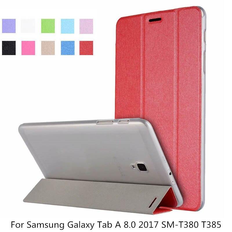 De moda transparente cubierta de la caja para Samsung Galaxy Tab A 8,0 de 2017 SM-T380 T385 PU Ultra Slim Smart Flip Stand + película