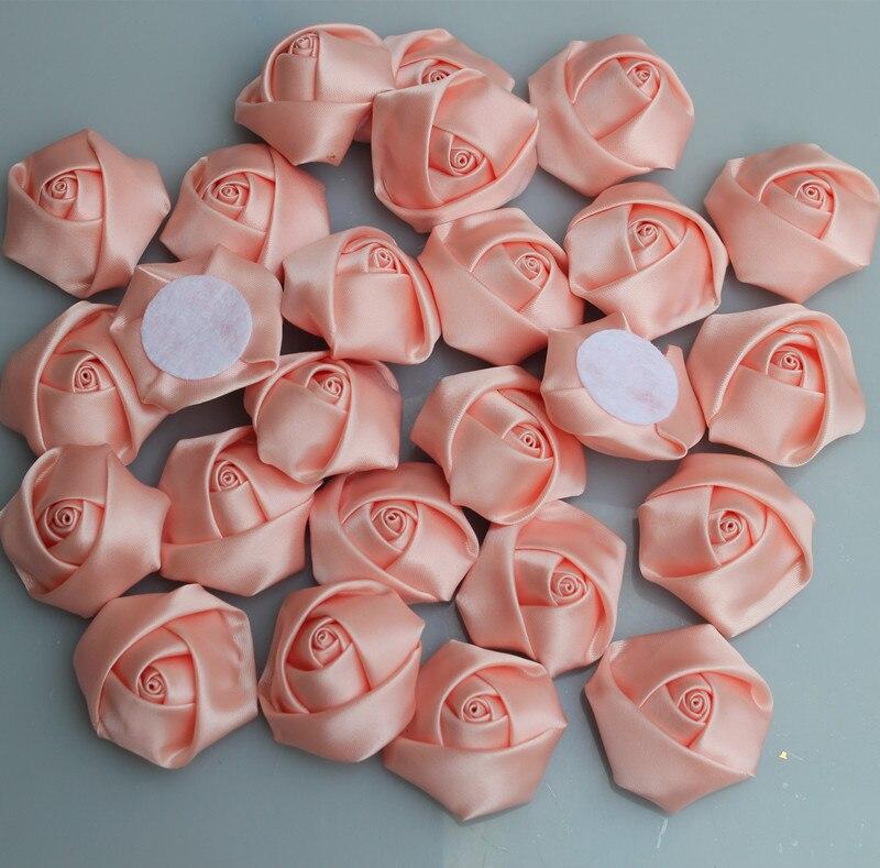 Roses colorées dents de neige   20 pièces/sac, diamètre fait à la main 3.5Cm, ruban en Satin, fleurs diy pour faire soi-même les accessoires de Bouquet de mariage